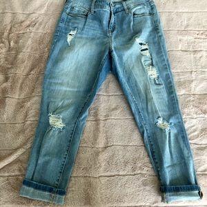 Torrid distressed girlfriend jeans